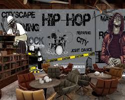 Free Shipping Music Restaurant Wallpaper Custom 3d Dance Studio Room Mural Black Trend Rock Hip Hop Bar Ktv