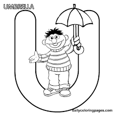 Abc Letter U Umbrella Sesame Street Ernie Coloring Pages 7 Com Page For Kids And Adults From Education Alphabets
