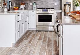 the contemporary wood tile floor kitchen pertaining to household