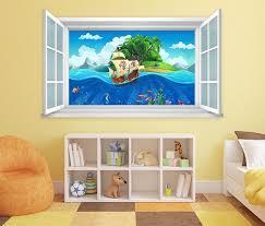 3d wandtattoo fenster boot meer pirat wand aufkleber wanddurchbruch wandbild wohnzimmer 11bd878
