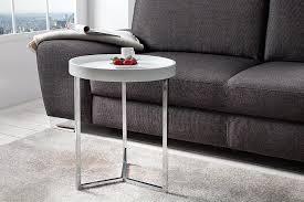 extravaganter couchtisch modular 40 cm weiß chrom rund inkl tablett beistelltisch