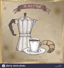 Vintage Moka Espresso Maker And Coffee Cup Color Sketch