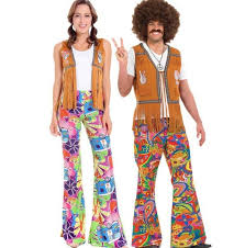 Ladies Mens 60s 70s Retro Hippie Go Girl Disco Costume Fancy Dress Hen Party Couple
