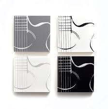 Guitar Wall Art Music Set Of 4 Acoustic Wood Cradled Panels Home Decor