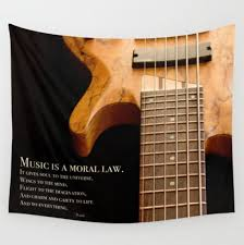 Music Is A Moral Law Bass Guitar Tapestry Oversized Wall Art Boho Decor Apartment