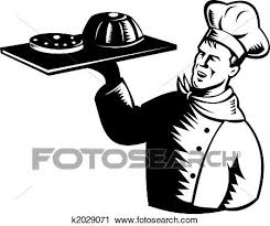 Clipart Baker with a tray of food Fotosearch Search Clip Art Illustration