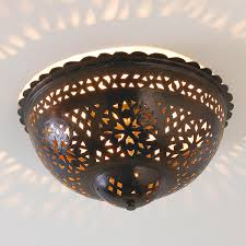 Punched Tin Lamp Shades Uk by Moroccan Scalloped And Punched Metal Semiflush Ceiling Light