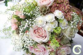 Hand Tied Rustic Bouquet With Roses Gypsophila Seed Heads And Sedum