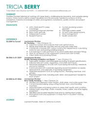 These Resume Examples Have Been Created As A Guide To Help You Build Your Own Journeyman Plumber Its Fast And Easy Can Click On Any Of The