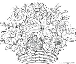 Flowers Coloring Pages Print Adult Flower Printable In Pretty