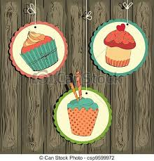 Cute Retro Cupcake On The String Wooden Background Vector Card