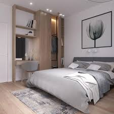 A Modern Bedroom In White And Light Grey Wooden Floors Wall Item