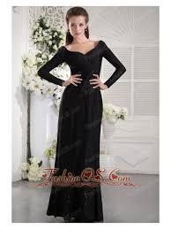 Black Column V Neck Long Sleeves Floor Length Taffeta Ruch Mother Of The Bride