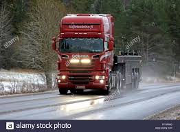 100 Rmds Trucking SALO FINLAND DECEMBER 2 2016 Red Scania R560 V8 Truck Of Stock