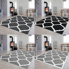 dekoration kurzflor teppich in grau gitter wohnzimmer