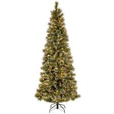 National Tree Company 75 Ft Glittery Bristle Pine Slim Artificial Christmas With Warm White