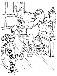 Winnie The Pooh With Tigger Coloring Page Picture 1