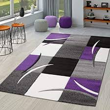 tt home teppich wohnzimmer modern palermo mit konturenschnitt in lila grau creme schwarz größe 80x300 cm