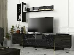 wohnwand braun grau wohnzimmerregal tv lowboard marmor optik