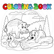 Cartoon Coloring Book Forest Animals