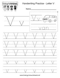 Free Printable Letter V Writing Practice Worksheet for Kindergarten