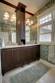 Bathroom Vanity Tower Cabinet by Hampton Vanity Tower With Green Patterned Wallpaper Bathroom