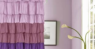 purple ruffle shower curtain style for bathroom curtain designs
