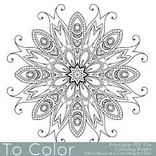 Detailed Printable Coloring Pages For Adults Gel Pens Mandala Pattern PDF JPG