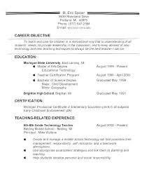 Example Resume Teacher Objective For Statement Sample Career Change