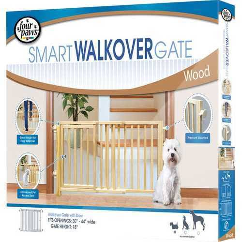 Four Paws Walk-Over Wood Pet Gate with Door - Beige
