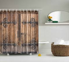 Online Shop LFH Wooden Barn Door Shower Curtain Rustic Decor Rural Vertical Barns House Print Polyester Fabric Bathroom Set With Hooks