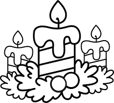 Coloring Page Of Christmas Candles With Holly