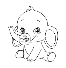 Cute Baby Elephant Animal Coloring Page For Kids In Pages