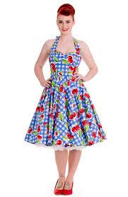 Hell Bunny Bold Cherry Gingham Print 50s Swing Dress
