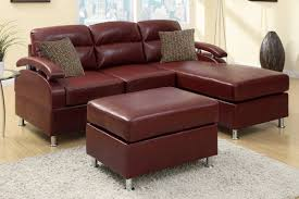 Poundex 3pc Sectional Sofa Set by All In One Modern Bonded Leather Sectional Sofa With Ottoman