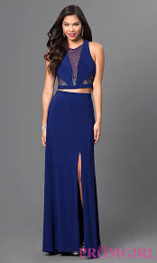 long blue two piece morgan prom dress promgirl