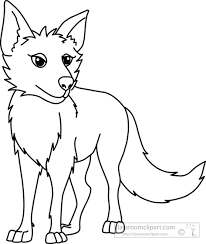 Animals Clipart coyote black white outline 914 Classroom Clipart