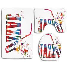 bunte jazz saxophon chor sommer unterhaltung flourish 3 stück badezimmer teppiche set bad teppich contour matte und toilette deckel abdeckung