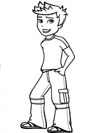 coloring page of a boy