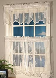 amazon com curtain chic seashells lace tiers 24 inch ivory