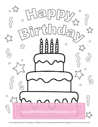 Birthday Cakes Happy Coloring Pages