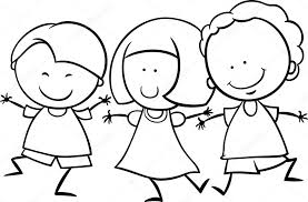 Black And White Cartoon Illustration Of Cute Happy Multicultural Children Boys Girl Characters For Coloring Book Vector By Izakowski