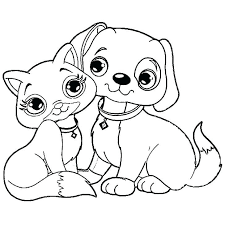 728x728 Coloring Pages Dogs Dog And Cat Printable
