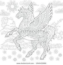 Pegasus Coloring Page Mythological Winged Horse Flying Adult Book Idea Barbie Colouring
