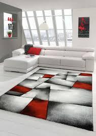 designer teppich moderner teppich wohnzimmer teppich kurzflor teppich mit konturenschnitt karo muster rot grau weiß schwarz größe 80 x 300 cm