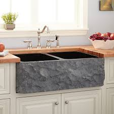33 polished granite double bowl farmhouse sink chiseled apron