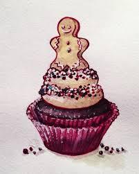 Watercolor Christmas cupcake