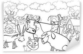Farm Animals For Coloring Book Wall Mural