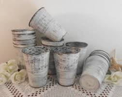 White Wedding Shabby Chic French Flower Bucket Rustic Tin Distressed Centerpiece Display Beach Cottage Country