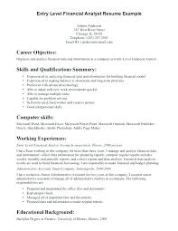 Resume Objective Examples Finance Internship For Entry Level Creative Thus Objectives